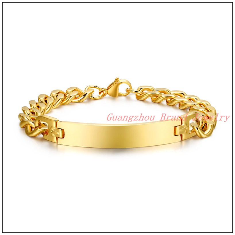 New Charming Couples Jewelry Gold color Stainless Steel Fashion Smooth Curb Chain Tone Bracelet Bangle For Men Women 8.26""