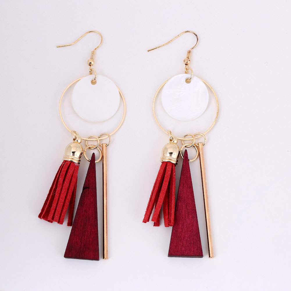 1 Pair Ethnic Women Bohemia Shell Tassel Earrings Long Pendant Drop Earrings Jewelry Gifts KQS8