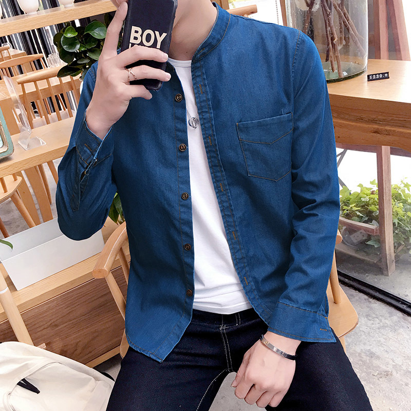 Autumn Korean denim long-sleeved shirt teen men's movement Harlan fashion Collocation clothing casual literary thin section
