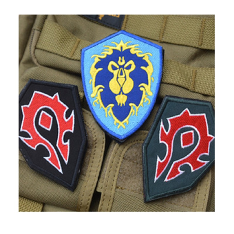 100 piece a lot 3D embroidery armband WOW World Alliance / Horde forces camp-sided embroidery patches badge armband