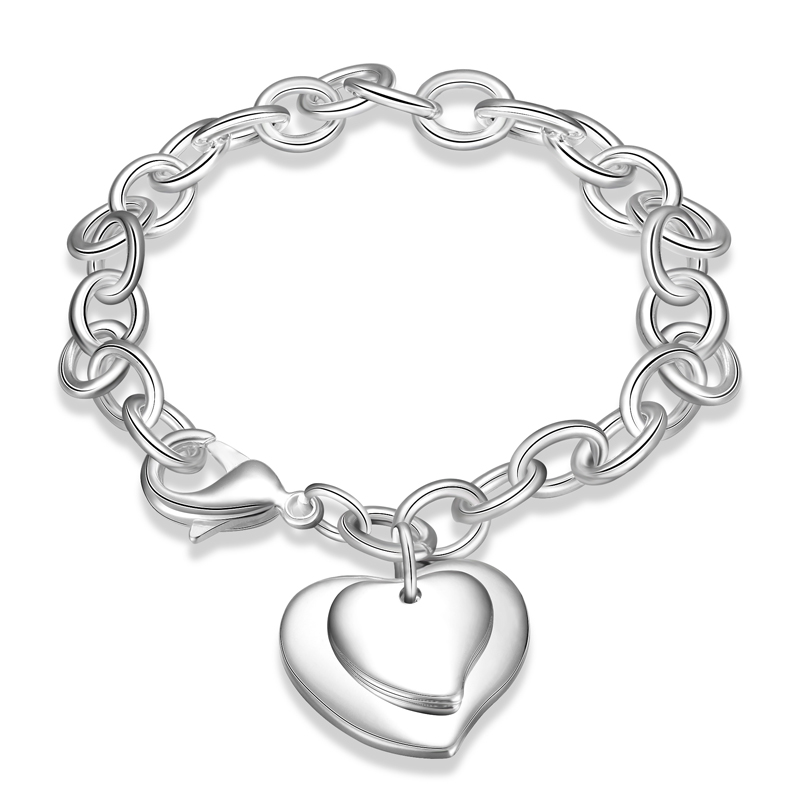 2016 New Silver Plated Exquisite Double Heart Brand Bracelets Fashion Jewelry Christmas Gifts For Women Wholesale