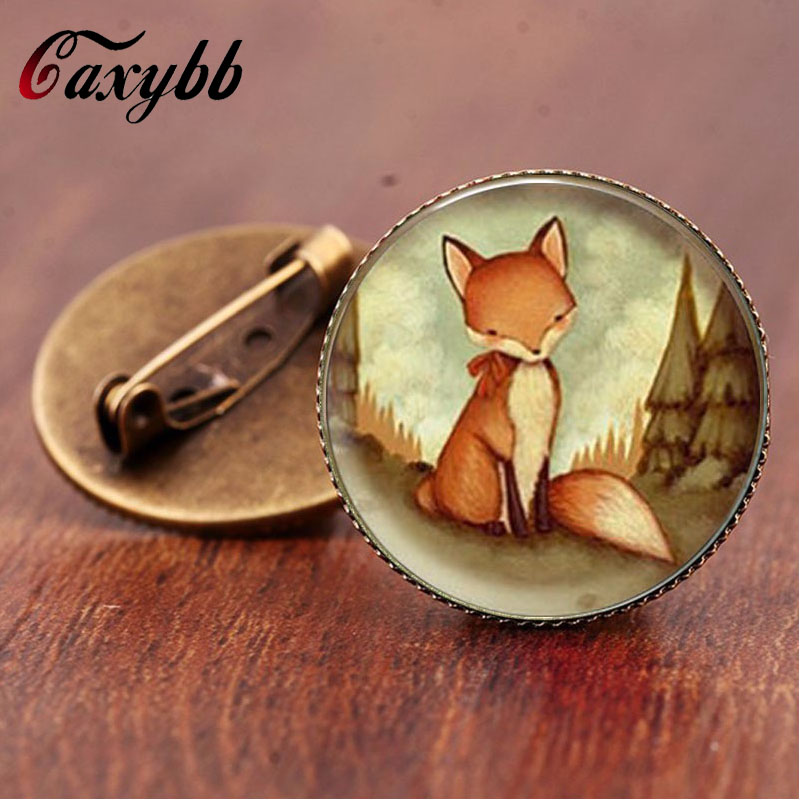 Gaxybb classic style Vintage Fox brooch pins jewelry Glass Woodland Creature Watercolor Art jewelry for women gift BR28