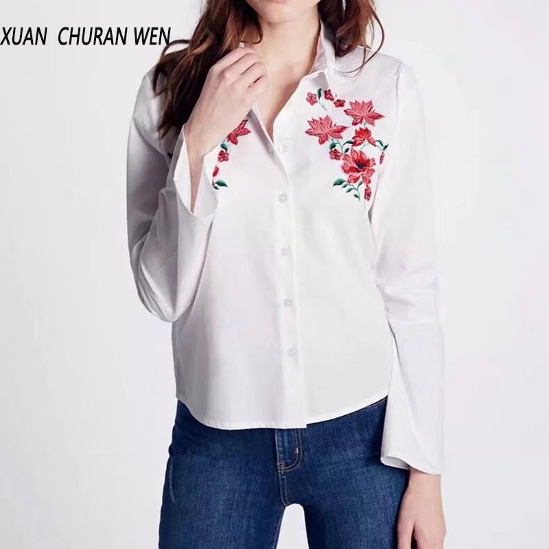 Women Embroidery Shirt With White Flare Sleeve Blouse Fashion Elegant Turn Down Collar Loose Tops Spring Flowers Blusas XB7219