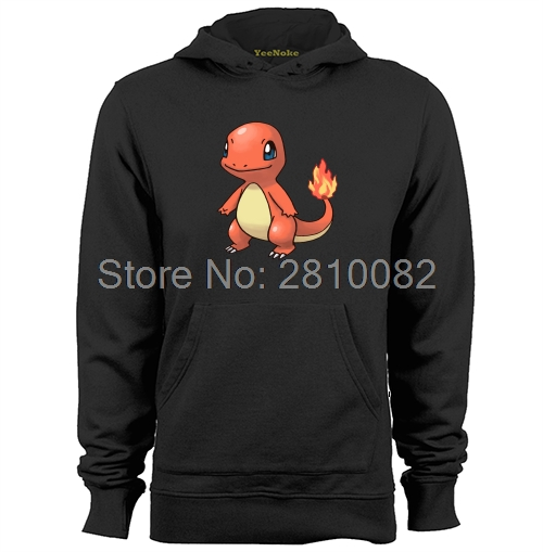 Pokemon Gizem Charmander Yangın Ejderha Mens & Womens Casual Hoodies Tişörtü