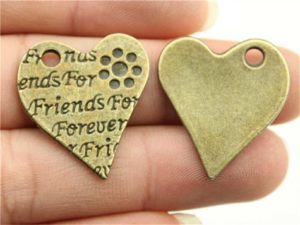 WYSIWYG 10 adet 27x24mm Friends Forever Charms, DIY Takı Aksesuarları