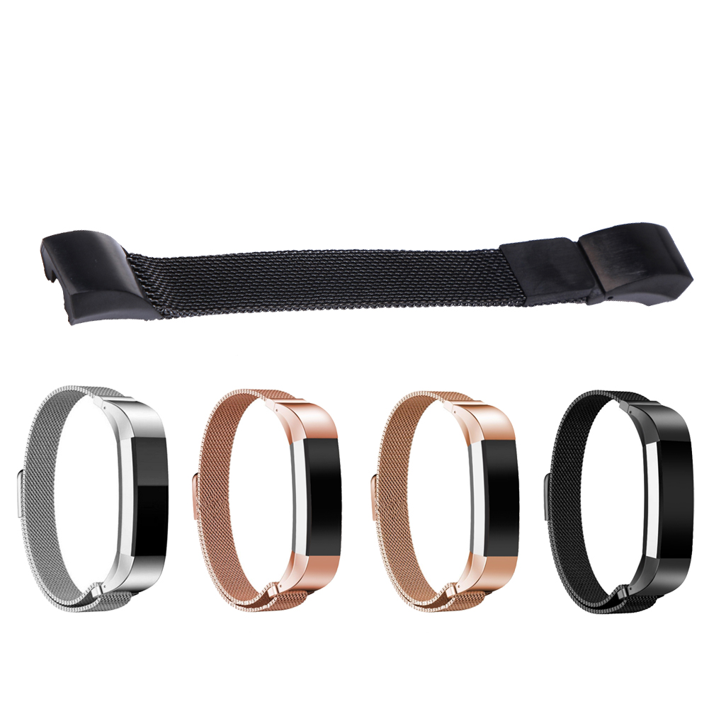4 Colors 130-215mm ultra-thin Stainless Steel milan Mesh Strap Bracelets Watch Band + Diagonal Strap for Fitbit L3FE